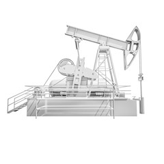 ISOLATED Oil Drilling Rig on White Background