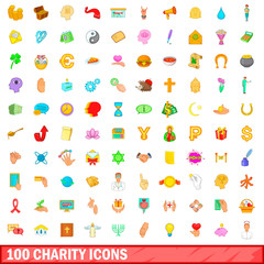 100 charity icons set, cartoon style