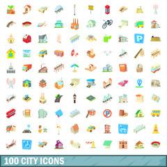 100 city icons set, cartoon style