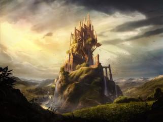digital illustration of mix media of a imaginative castle fortress in fantasy land  Fototapete
