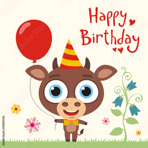 Happy Birthday To You Funny Cow Calf With Red Balloon Birthday