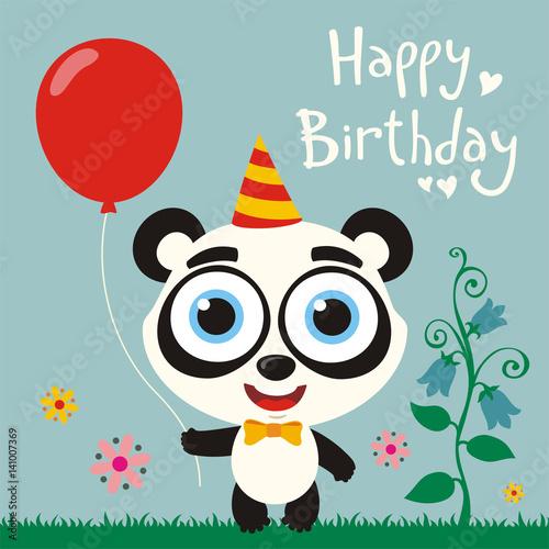 Happy Birthday To You Funny Panda Bear With Red Balloon Birthday