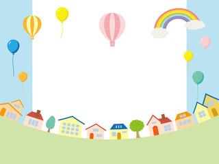 街並みと風船の背景素材
