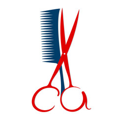 Scissors and comb for beauty salon and hairdresser