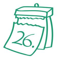 Handgezeichneter Kalender - Tag 26 in grün