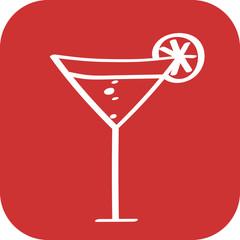 Handgezeichneter Cocktail auf rotem Hintergrund
