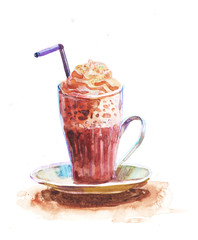 Hot Chocolate. Coffee cup painted with watercolors on white background.