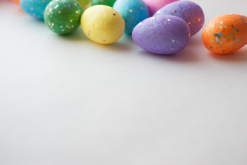 Easter eggs on white background, decorative eggs,
