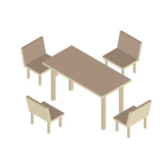 Table with chairs for office or cafe. 3d isometric vector illustration.