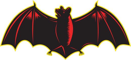 Bat Spread Wing Woodcut