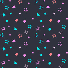 Seamless pattern with filled and empty stars on dark grey background. Vector illustration.
