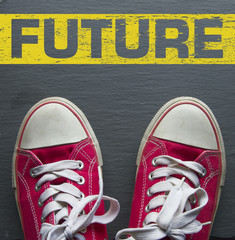 red sneakers with words: future