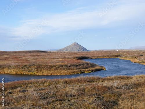 Palagonitkegel Vindbelgjarfjall Am See Myvatn In Island Im Herbst