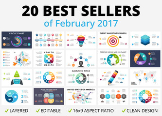 Best vector circle infographics set. Business diagrams, arrows graphs, startup logo presentations and idea charts. Data options, parts, 3, 4, 5, 6, 7, 8 steps or processes. 16x9 slide template.