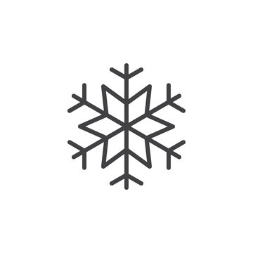 Snowflake, freeze line icon, outline vector sign, linear style pictogram isolated on white. Snow symbol, logo illustration. Editable stroke. Pixel perfect