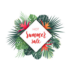Summer vector floral sale banner. Tropical template design with palm leaves and red guzmania flowers.