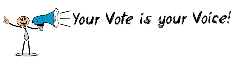 Your Vote is your Voice! / Mann mit Megafon