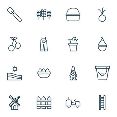 Set Of 16 Gardening Icons. Includes Wheat, Pail, Garlic And Other Symbols. Beautiful Design Elements.