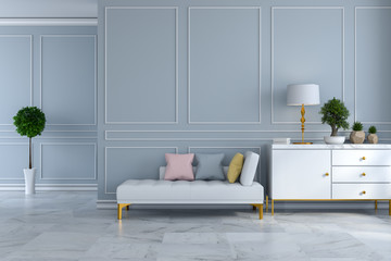 luxury modern room interior,white daybed with white sideboard on light gray wall and marble floor /3d render