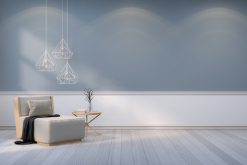 Minimalist room interior,wood  armchair with white lamp on  gray wall and wood floor /3d render