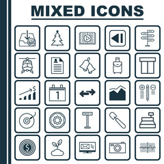 Set Of 25 Universal Editable Icons. Can Be Used For Web, Mobile And App Design. Includes Elements Such As Shovel, Navigation Arrows, Last Song And More.