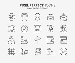 travel and tourism thin line icons 1