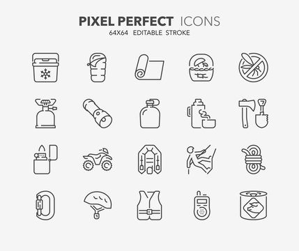 outdoor and camping thin line icons 2