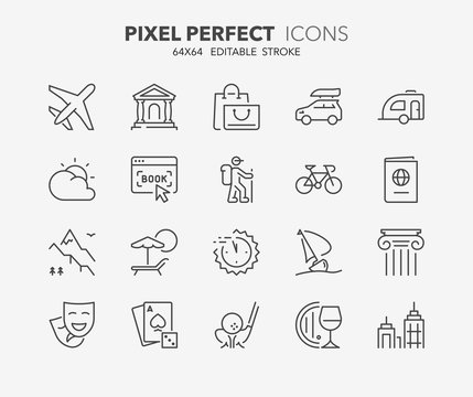 travel and tourism thin line icons 2