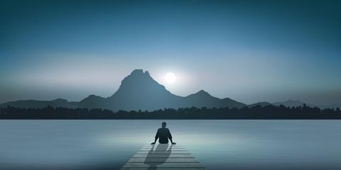 Ponton - Paysage - Lac - Montagne - méditation - Zen