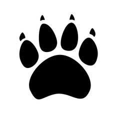 Black silhouette of animal footprints on white background. Cats and dogs paw icon.