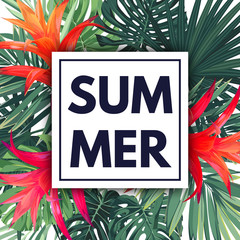 Green botanical summer tropical design with palm leaves and exotic red flowers. Vector floral template.