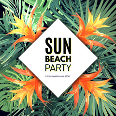 Customizable vector floral design template for summer beach party. Tropical flyer with green exotic plants and orange flowers.