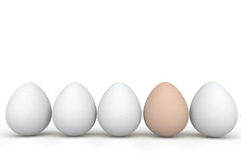 3d rendering of unique brown egg in a row of white eggs
