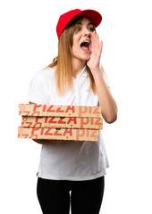 Pizza delivery woman shouting