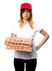 Sad pizza delivery woman