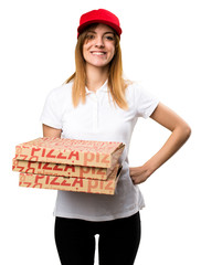 Happy pizza delivery woman