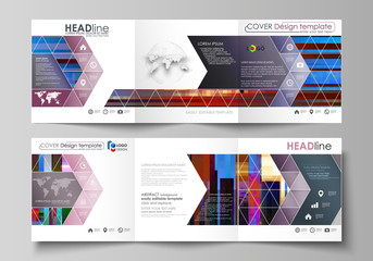 Business templates for tri fold brochures. Square design. Leaflet cover, abstract vector layout. Glitched background made of colorful pixel mosaic. Digital decay, signal error. Trendy glitch backdrop.