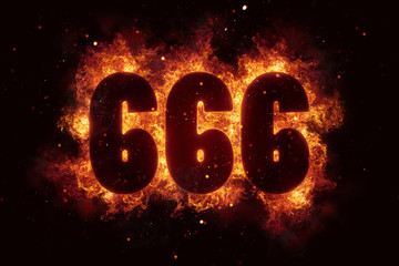 666 Fire Satanic sign gothic style evil esoteric