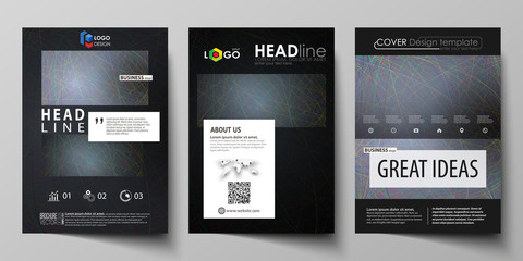Business templates for brochure, magazine, flyer, booklet. Cover design template, vector layout in A4 size. Colorful dark background with abstract lines. Bright color chaotic, random, messy curves.