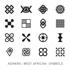 Set of akan and adinkra -west african- symbols vector