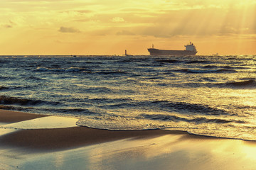 Ships at sunset in the Baltic sea