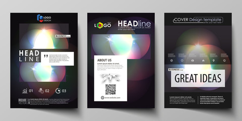 Business templates for brochure, magazine, flyer, booklet or annual report. Cover template, abstract vector layout in A4 size. Retro style, mystical Sci-Fi background. Futuristic trendy design.