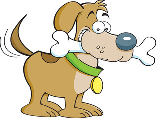 Cartoon illustration of a dog with a bone.