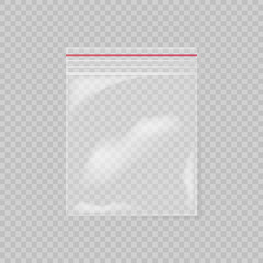 Plastic bag isolated on transparent background. Empty transparent plastic pocket bag. Vector illustration.