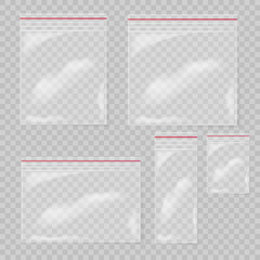Plastic bag set isolated on transparent background. Collection Empty transparent plastic pocket bags. Vector illustration.