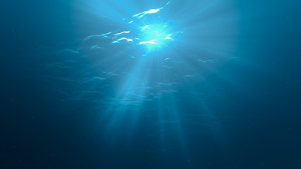 3D rendered illustration of sun light rays under water.