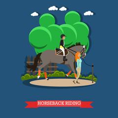 Horseback riding vector illustration in flat style.
