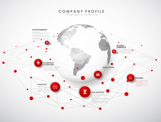 Company profile overview template with red circles, dots and polygonal globe - light version.