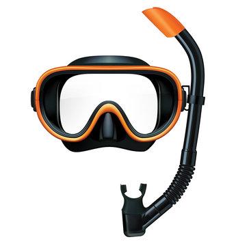 Dive mask and snorkel for professionals. Vector illustration