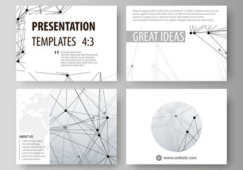 Set of business templates for presentation slides. Easy editable abstract vector layouts in flat design. DNA and neurons molecule structure. Medicine, science, technology concept. Scalable graphic.